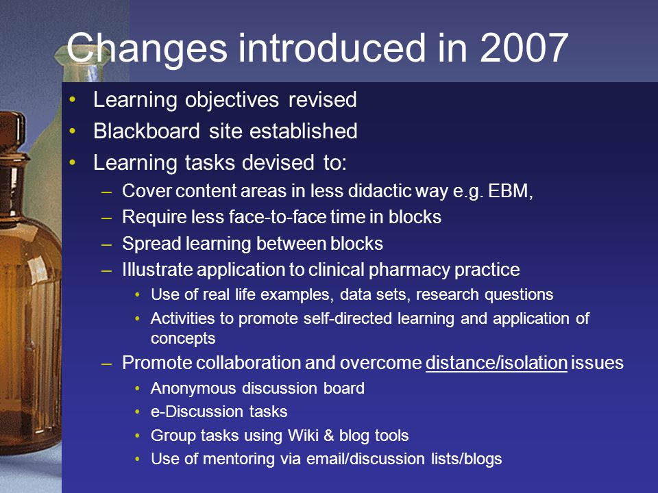 Changes introduced in 2007 Learning objectives revised Blackboard site established Learning tasks devised to: –Cover content areas in less didactic way e.g.