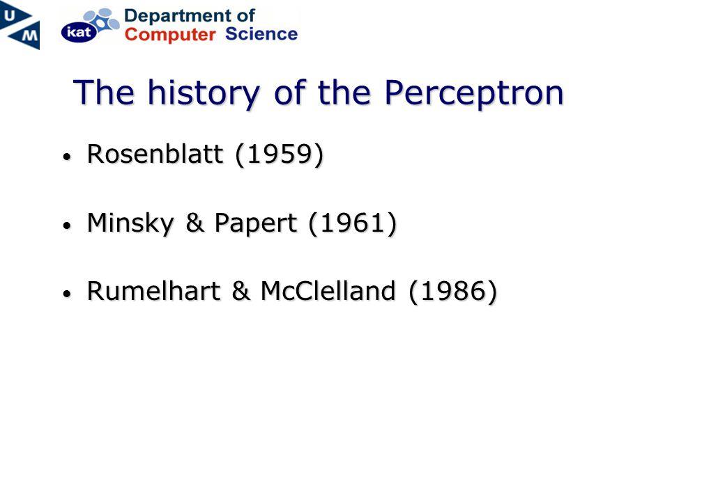 The history of the Perceptron Rosenblatt (1959) Rosenblatt (1959) Minsky & Papert (1961) Minsky & Papert (1961) Rumelhart & McClelland (1986) Rumelhart & McClelland (1986)