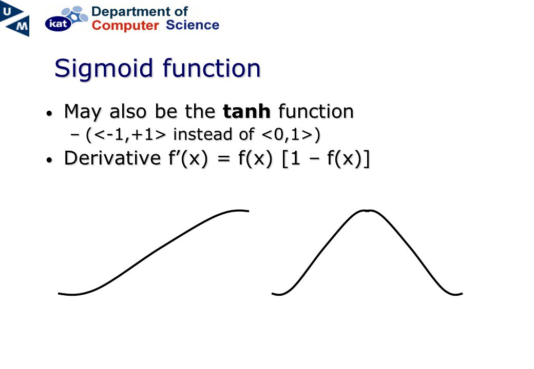 Sigmoid function May also be the tanh function May also be the tanh function –( instead of ) Derivative f'(x) = f(x) [1 – f(x)] Derivative f'(x) = f(x) [1 – f(x)]