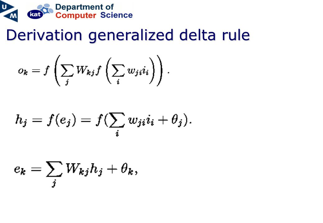 Derivation generalized delta rule