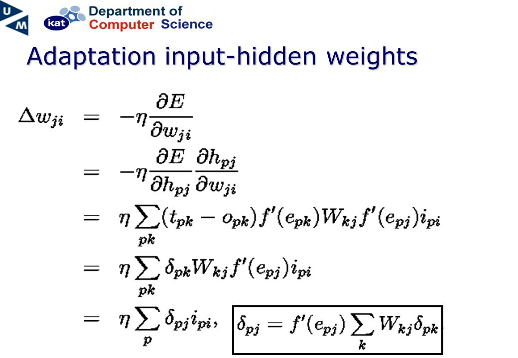 Adaptation input-hidden weights
