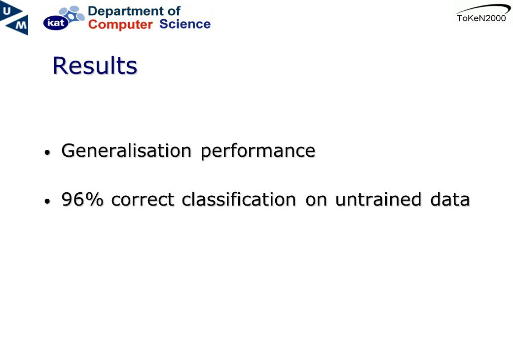 Results Generalisation performance Generalisation performance 96% correct classification on untrained data 96% correct classification on untrained data