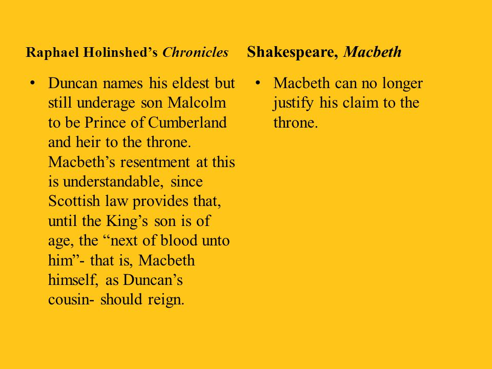 Raphael Holinshed's Chronicles Banquo is one of many trusted friends with whose support Macbeth slays the King at Inverness or at Bothgowanan (no mention is made of a visit to Macbeth's castle) Macbeth is at first no brutal tyrant, as in Shakespeare.