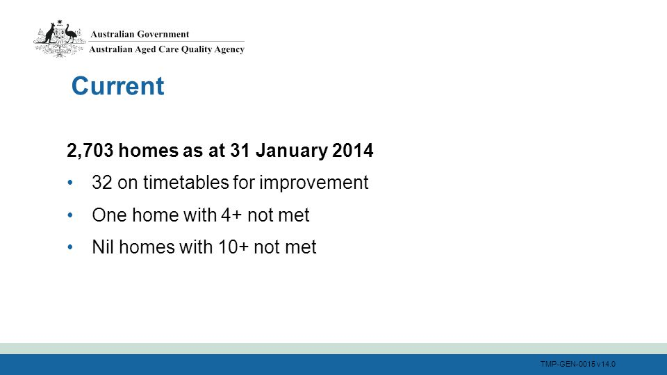 TMP-GEN-0015 v14.0 2,703 homes as at 31 January 2014 32 on timetables for improvement One home with 4+ not met Nil homes with 10+ not met Current