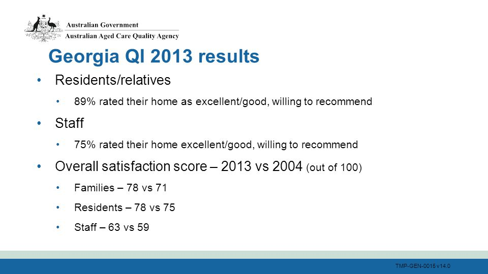 TMP-GEN-0015 v14.0 Residents/relatives 89% rated their home as excellent/good, willing to recommend Staff 75% rated their home excellent/good, willing