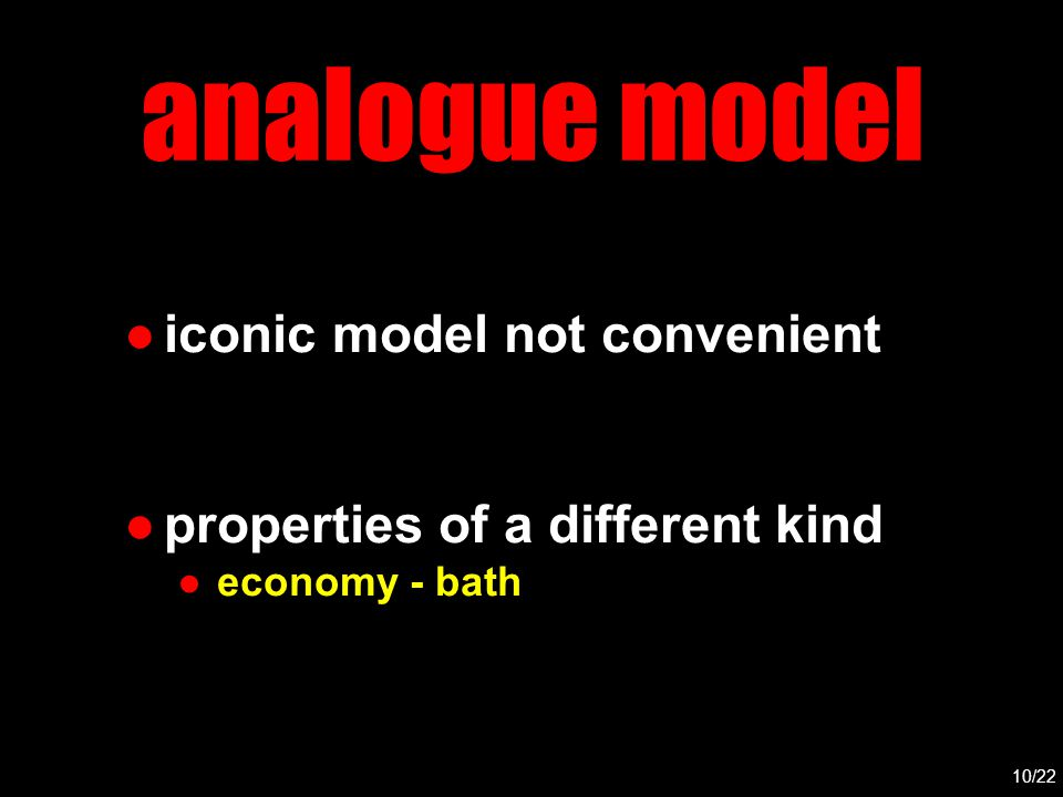 analogue model ●iconic model not convenient ●properties of a different kind ●economy - bath 10/22