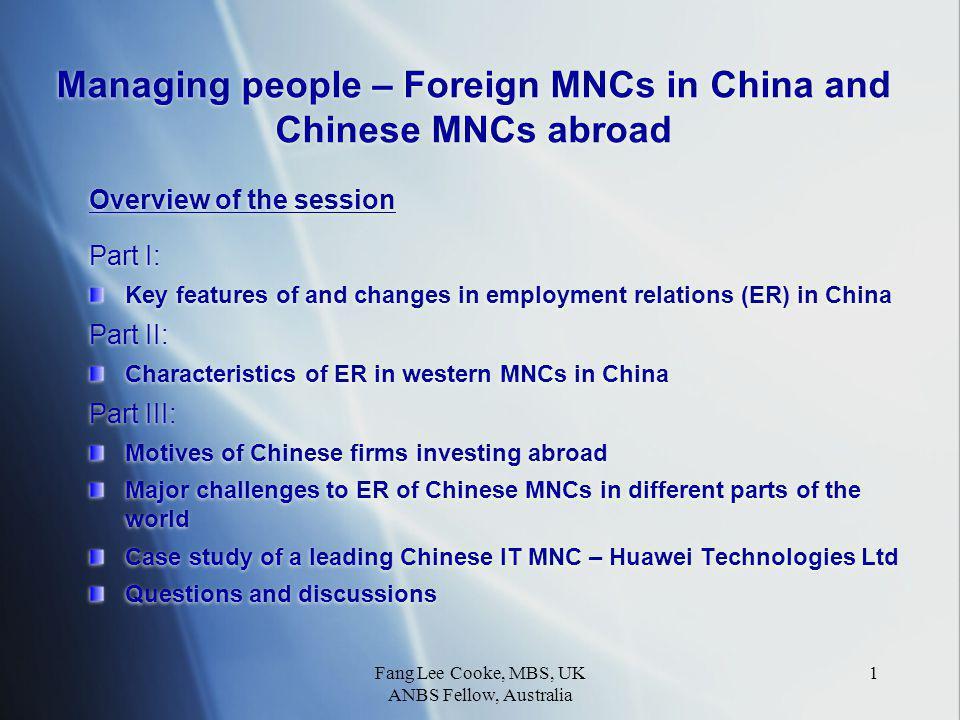 Fang Lee Cooke, MBS, UK ANBS Fellow, Australia 22 Huawei R&D Centre
