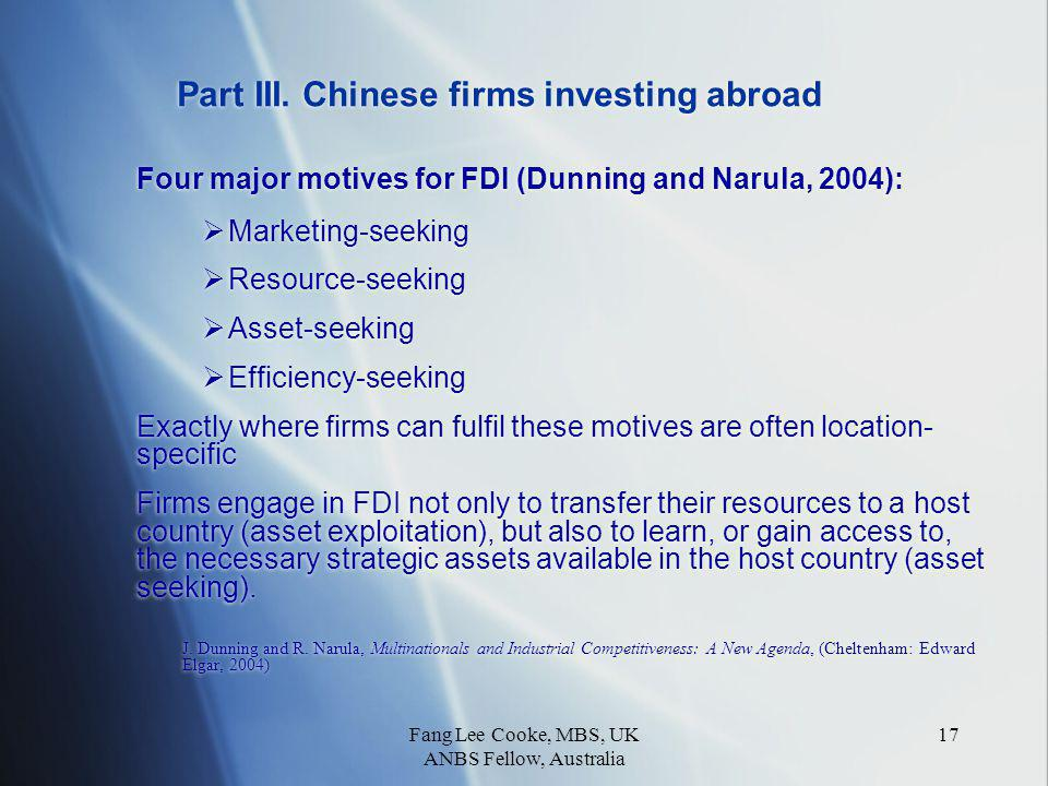 Fang Lee Cooke, MBS, UK ANBS Fellow, Australia 17 Part III.