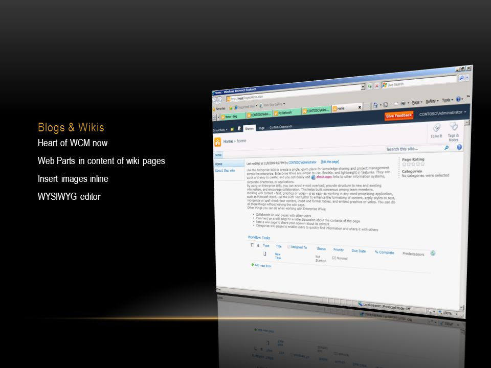 Blogs & Wikis Heart of WCM now Web Parts in content of wiki pages Insert images inline WYSIWYG editor