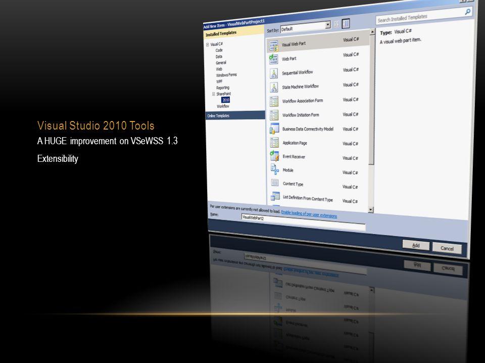 Visual Studio 2010 Tools A HUGE improvement on VSeWSS 1.3 Extensibility