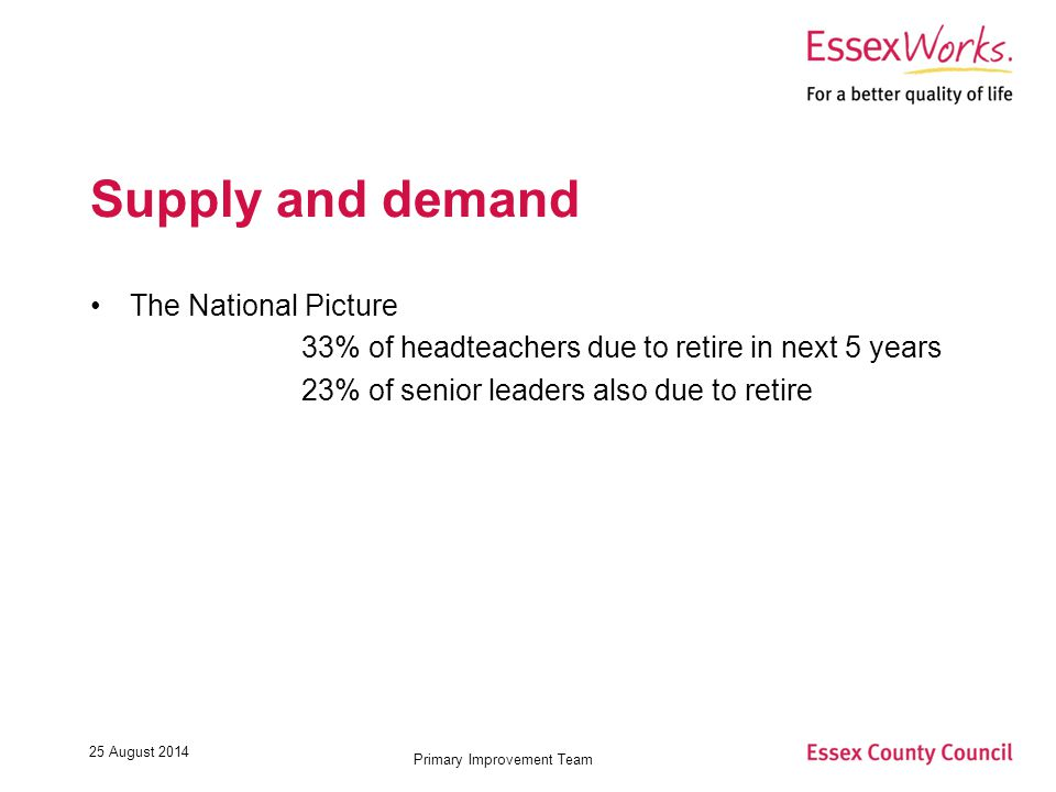 25 August 2014 Primary Improvement Team Supply and demand The National Picture 33% of headteachers due to retire in next 5 years 23% of senior leaders also due to retire
