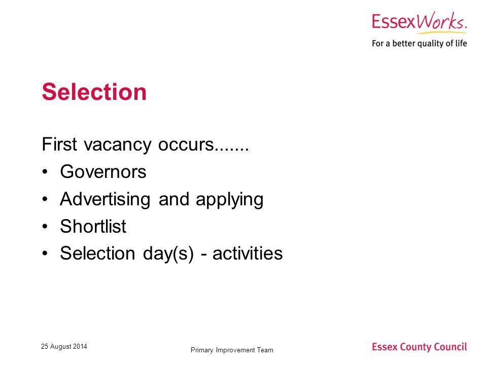 25 August 2014 Primary Improvement Team Selection First vacancy occurs