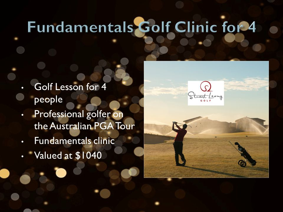 Golf Lesson for 4 people Professional golfer on the Australian PGA Tour Fundamentals clinic Valued at $1040