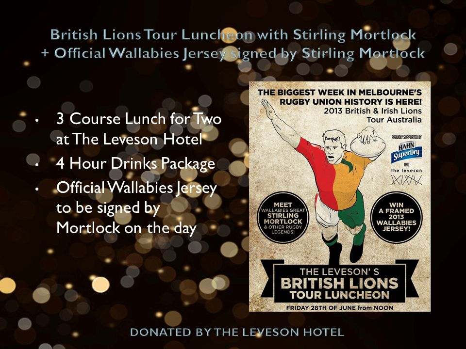 3 Course Lunch for Two at The Leveson Hotel 4 Hour Drinks Package Official Wallabies Jersey to be signed by Mortlock on the day