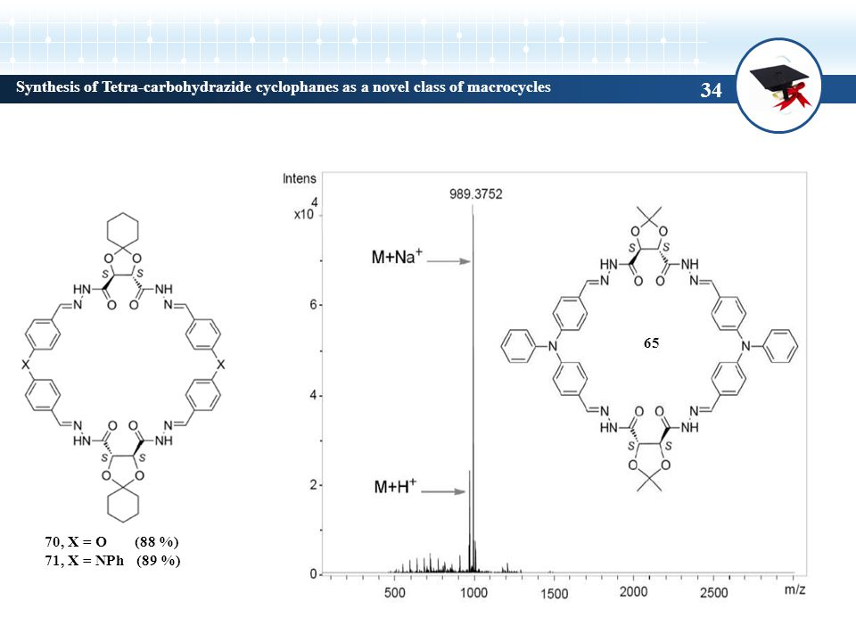 Synthesis of Tetra-carbohydrazide cyclophanes as a novel class of macrocycles 70, X = O (88 %) 71, X = NPh (89 %) 65 34
