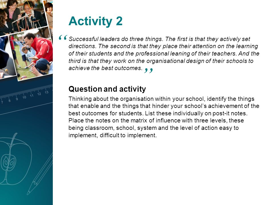 Activity 2 Successful leaders do three things. The first is that they actively set directions.