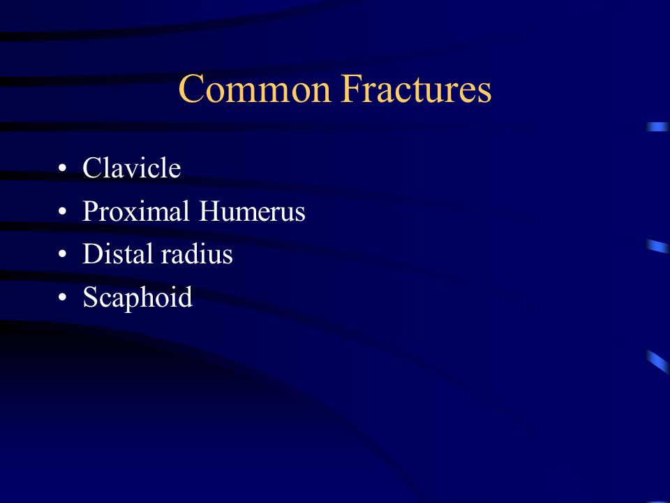Common Fractures Clavicle Proximal Humerus Distal radius Scaphoid