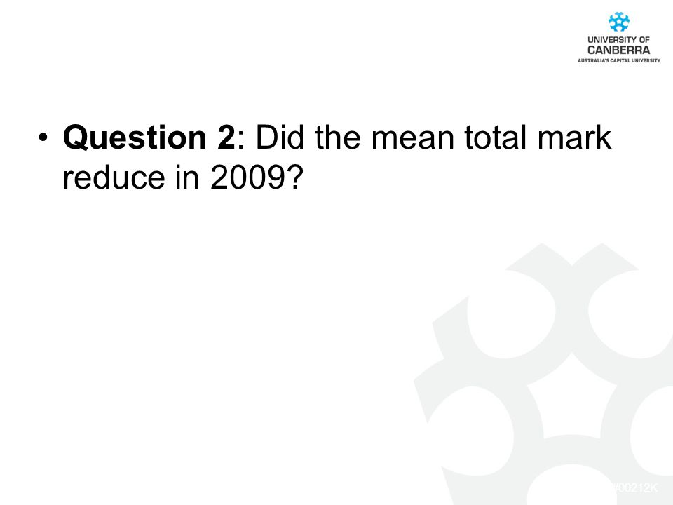 CRICOS #00212K Question 2: Did the mean total mark reduce in 2009