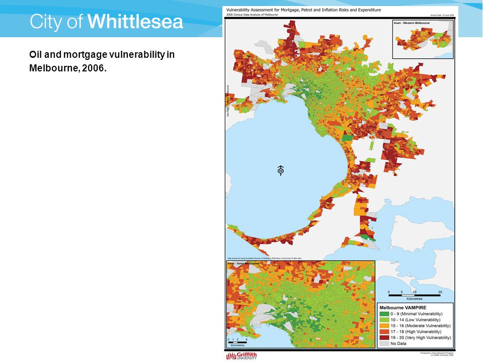 Oil and mortgage vulnerability in Melbourne, 2006.