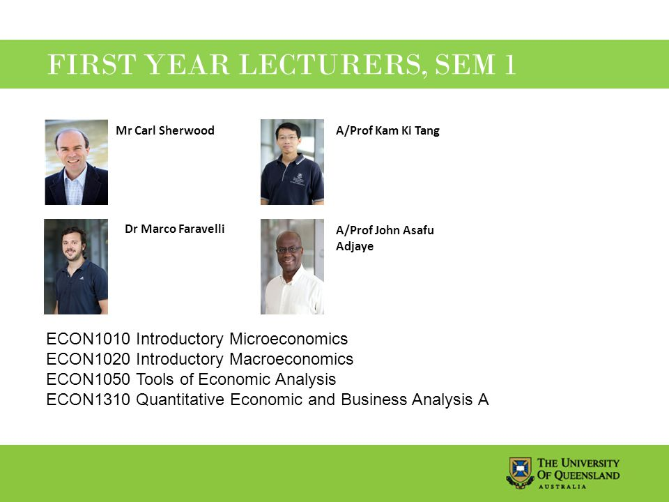 FIRST YEAR LECTURERS, SEM 1 ECON1010 Introductory Microeconomics ECON1020 Introductory Macroeconomics ECON1050 Tools of Economic Analysis ECON1310 Quantitative Economic and Business Analysis A Mr Carl SherwoodA/Prof Kam Ki Tang Dr Marco Faravelli A/Prof John Asafu Adjaye