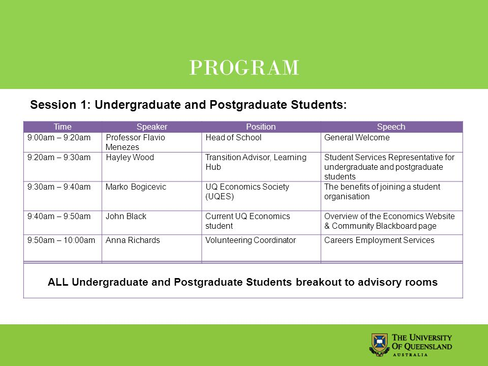 PROGRAM TimeSpeakerPositionSpeech 9:00am – 9:20amProfessor Flavio Menezes Head of SchoolGeneral Welcome 9:20am – 9:30amHayley WoodTransition Advisor, Learning Hub Student Services Representative for undergraduate and postgraduate students 9:30am – 9:40amMarko Bogicevic UQ Economics Society (UQES) The benefits of joining a student organisation 9:40am – 9:50amJohn BlackCurrent UQ Economics student Overview of the Economics Website & Community Blackboard page 9:50am – 10:00amAnna RichardsVolunteering CoordinatorCareers Employment Services ALL Undergraduate and Postgraduate Students breakout to advisory rooms Session 1: Undergraduate and Postgraduate Students: