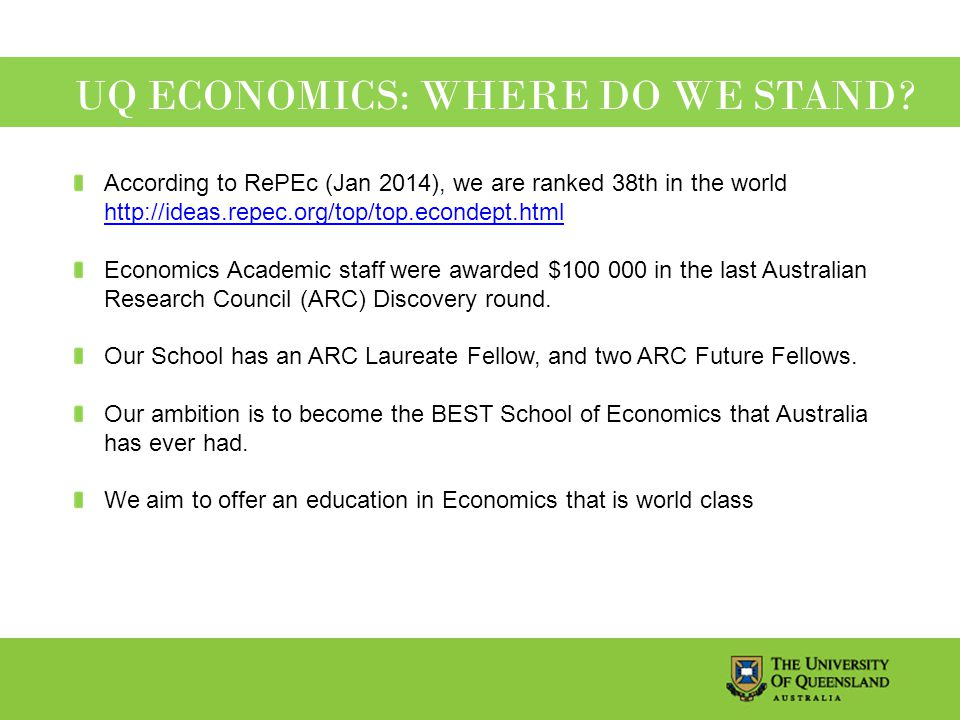 UQ ECONOMICS: WHERE DO WE STAND.