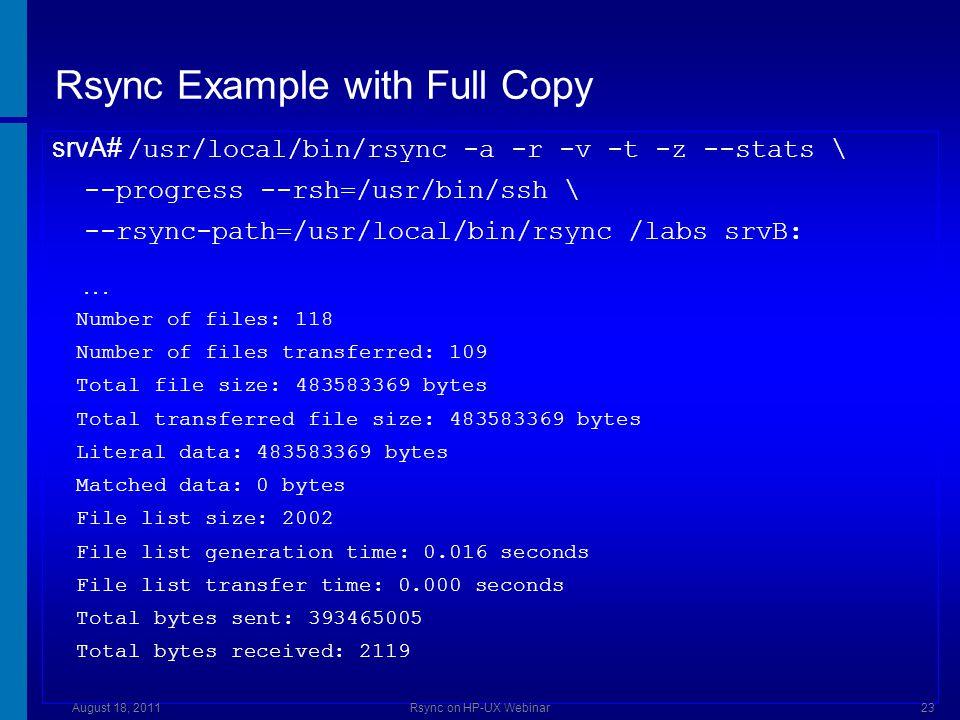 Rsync Example with Sparse Files * – Part 1 srvA# prealloc sparsefile1 1024000 srvA# /usr/local/bin/rsync -a -A -r -v -t -z \ --stats --progress \ --r sync-path=/usr/local/bin/rsync /src srvB: srvB# ll sparsefile1 2000 -rw-r----- 1 root sys 1024000 Aug 18 14:50 sparsefile3 August 18, 2011Rsync on HP-UX Webinar24