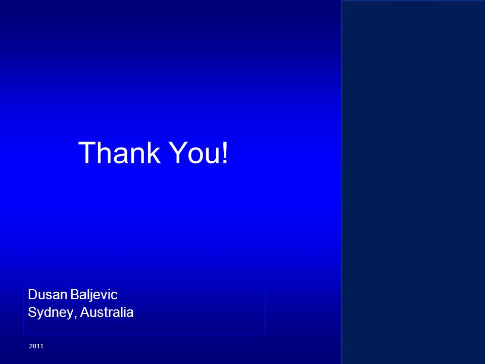 2011 Dusan Baljevic Sydney, Australia Appendix