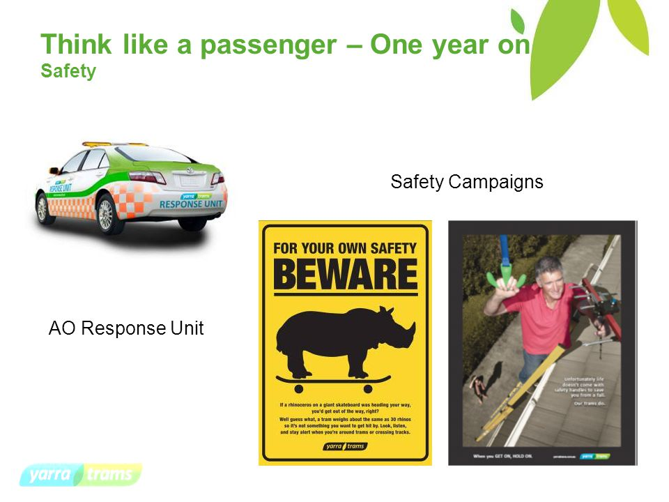 Think like a passenger – One year on Safety Safety Campaigns AO Response Unit