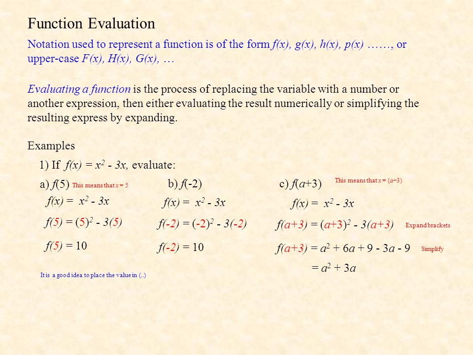 Function Evaluation Notation used to represent a function is of the form f(x), g(x), h(x), p(x) ……, or upper-case F(x), H(x), G(x), … Evaluating a fun
