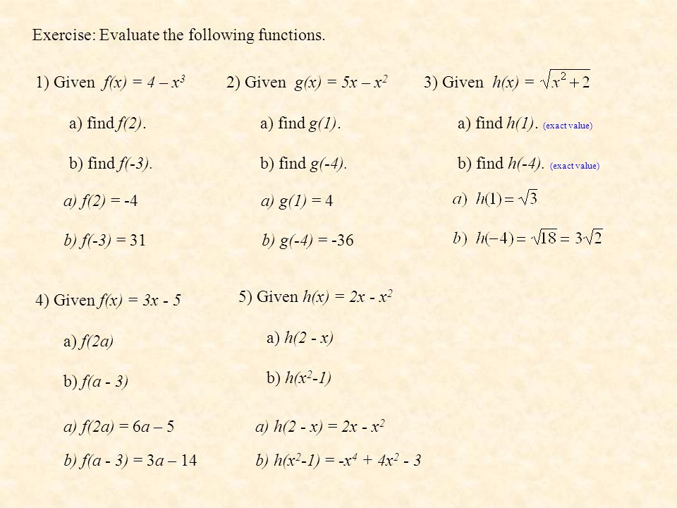 Exercise: Evaluate the following functions. 1) Given f(x) = 4 – x 3 a) find f(2). b) find f(-3). 2) Given g(x) = 5x – x 2 a) find g(1). b) find g(-4).