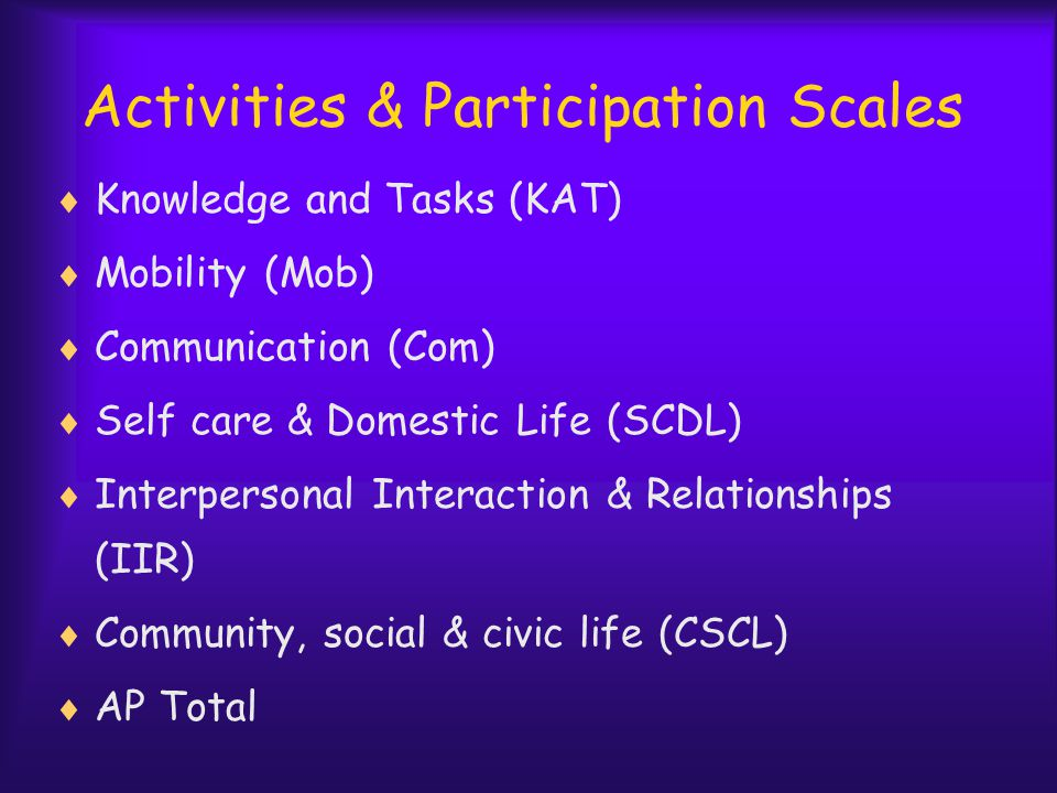 Activities & Participation Scales  Knowledge and Tasks (KAT)  Mobility (Mob)  Communication (Com)  Self care & Domestic Life (SCDL)  Interpersonal Interaction & Relationships (IIR)  Community, social & civic life (CSCL)  AP Total