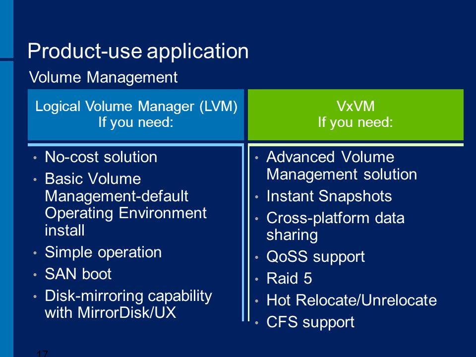 Product-use application 17 Volume Management Logical Volume Manager (LVM) If you need: VxVM If you need: Advanced Volume Management solution Instant S