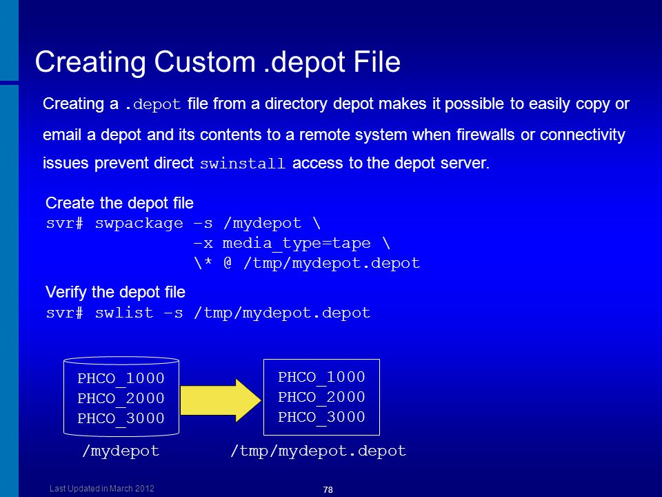 Creating Custom.depot File Create the depot file svr# swpackage –s /mydepot \ –x media_type=tape \ \* @ /tmp/mydepot.depot Verify the depot file svr#