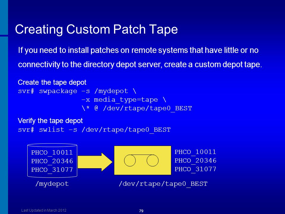 Creating Custom Patch Tape Create the tape depot svr# swpackage –s /mydepot \ –x media_type=tape \ \* @ /dev/rtape/tape0_BEST Verify the tape depot sv
