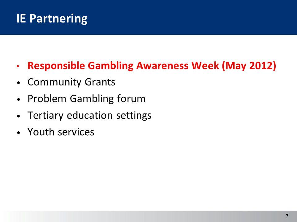 IE Partnering Responsible Gambling Awareness Week (May 2012) Community Grants Problem Gambling forum Tertiary education settings Youth services 7