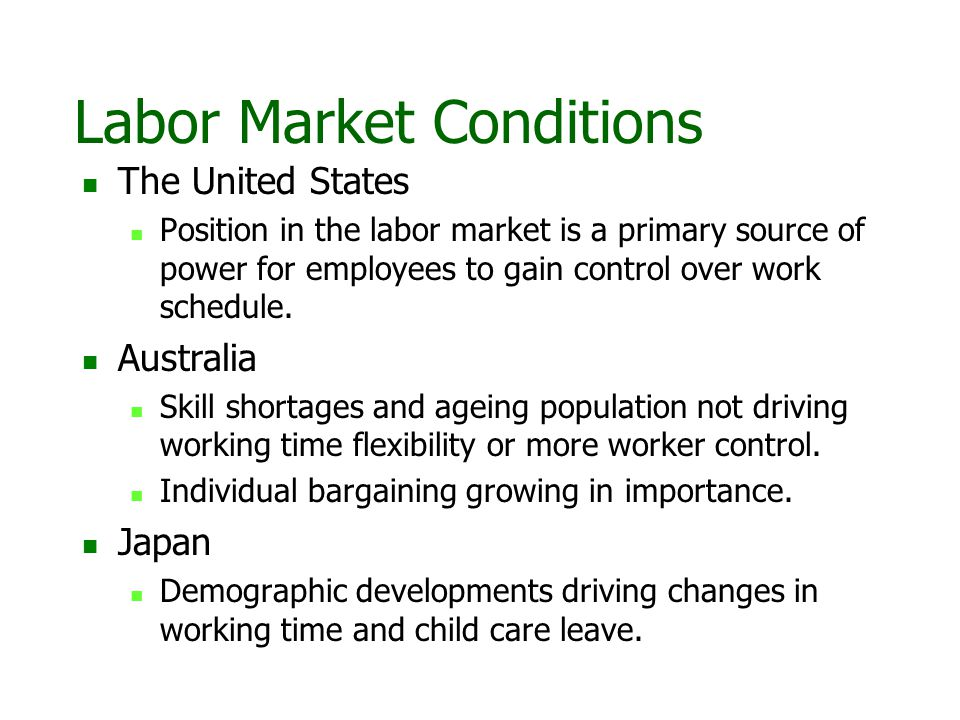Labor Market Conditions The United States Position in the labor market is a primary source of power for employees to gain control over work schedule.