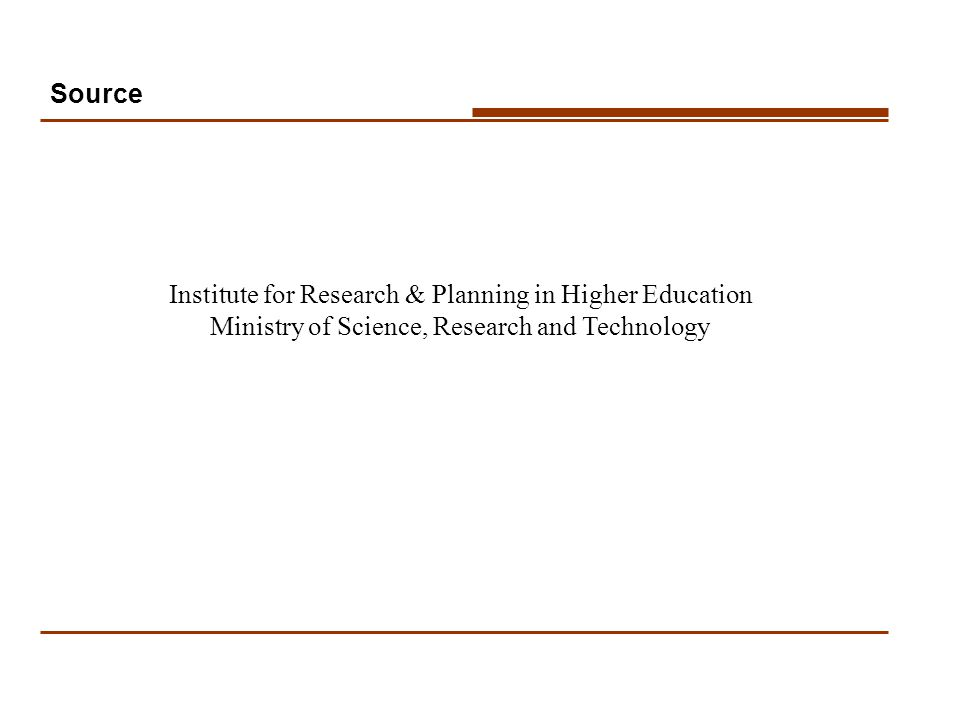 Source Institute for Research & Planning in Higher Education Ministry of Science, Research and Technology