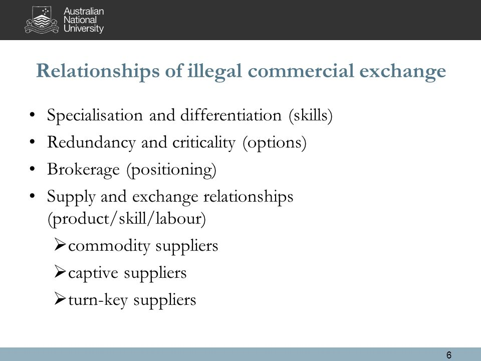 Relationships of illegal commercial exchange Specialisation and differentiation (skills) Redundancy and criticality (options) Brokerage (positioning) Supply and exchange relationships (product/skill/labour)  commodity suppliers  captive suppliers  turn-key suppliers 6