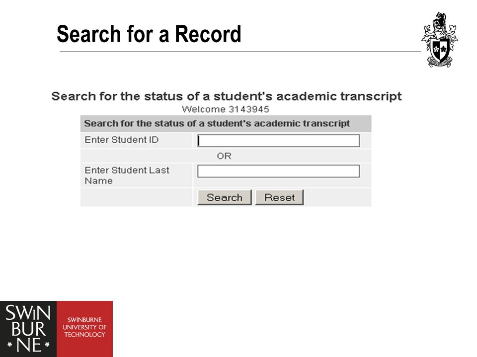 Search for a Record