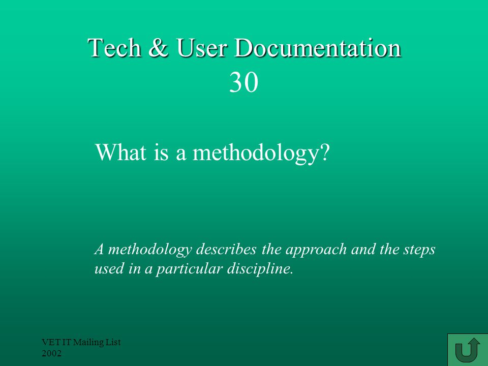 VET IT Mailing List 2002 Tech & User Documentation Tech & User Documentation 20 A template stores the structure and format of a document, along with the standard text.