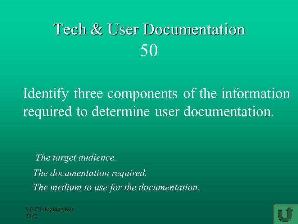 VET IT Mailing List 2002 Tech & User Documentation Tech & User Documentation 40 Learn how to use the system.