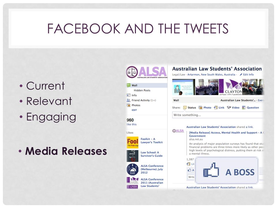 FACEBOOK AND THE TWEETS Current Relevant Engaging Media Releases
