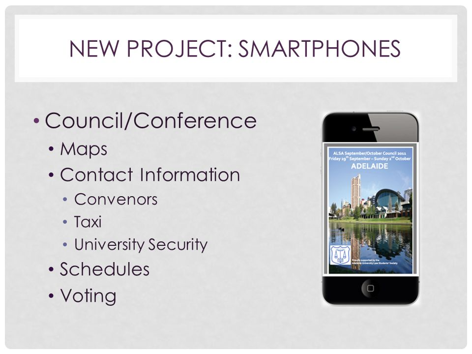 NEW PROJECT: SMARTPHONES Council/Conference Maps Contact Information Convenors Taxi University Security Schedules Voting