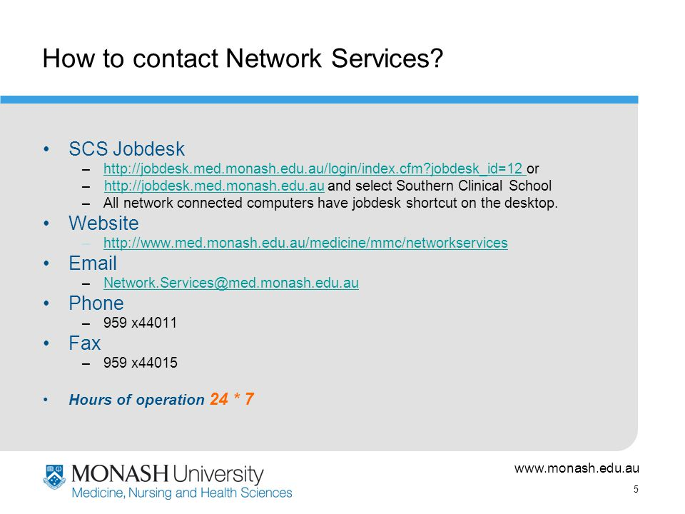 5 How to contact Network Services.