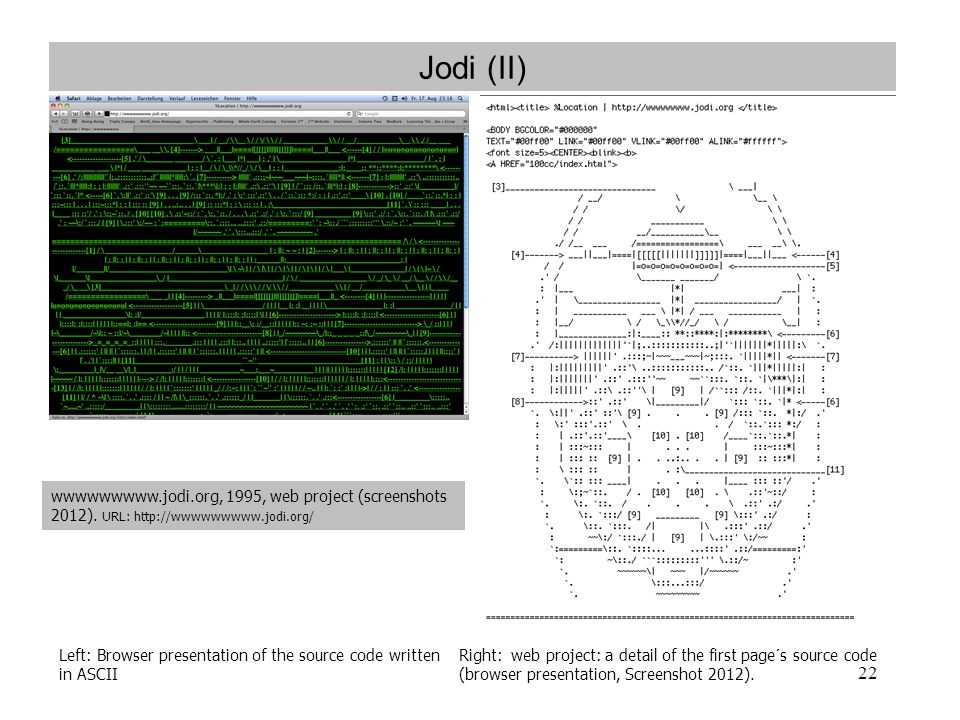 22 Jodi (II) Left: Browser presentation of the source code written in ASCII Right: web project: a detail of the first page´s source code (browser pres