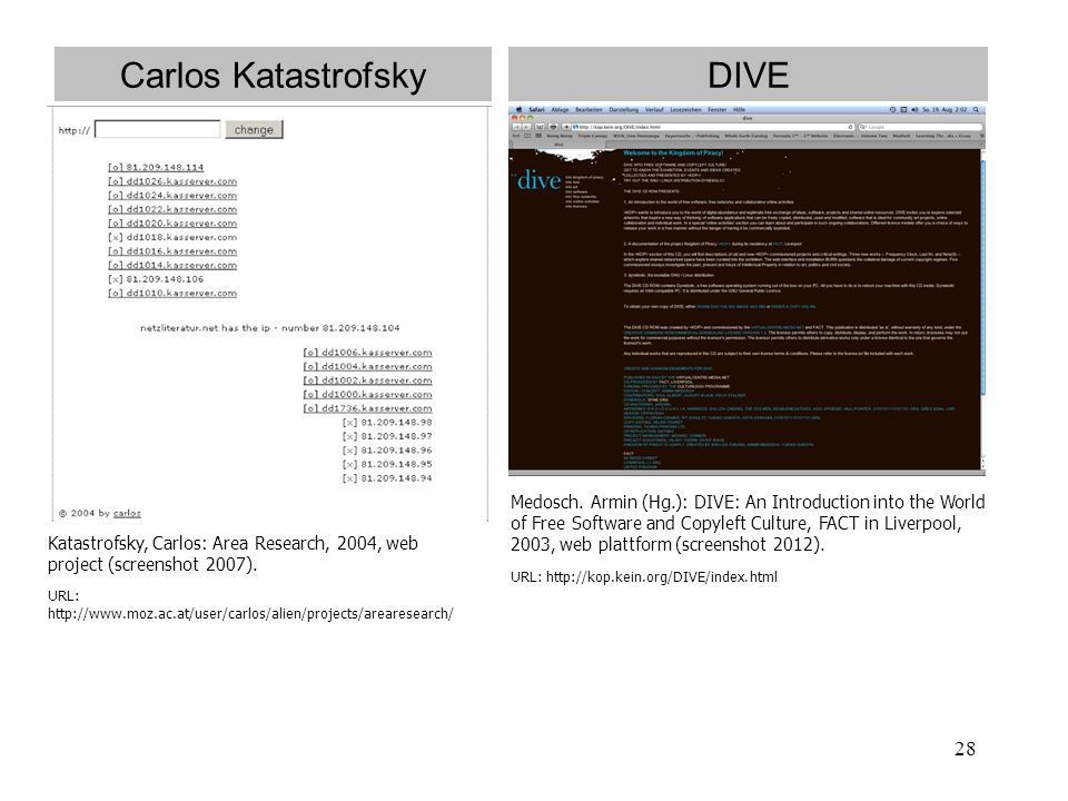 28 Carlos Katastrofsky Katastrofsky, Carlos: Area Research, 2004, web project (screenshot 2007). URL: http://www.moz.ac.at/user/carlos/alien/projects/