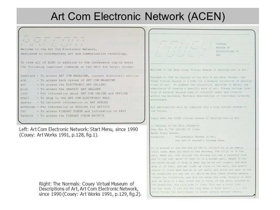 7 Art Com Electronic Network (ACEN) Left: Art Com Electronic Network: Start Menu, since 1990 (Couey: Art Works 1991, p.128, fig.1). Right: The Normals
