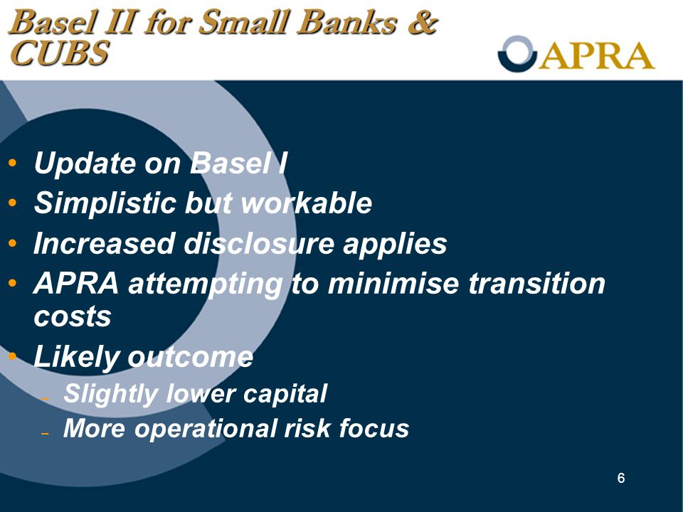 6 Update on Basel I Simplistic but workable Increased disclosure applies APRA attempting to minimise transition costs Likely outcome – Slightly lower capital – More operational risk focus Basel II for Small Banks & CUBS