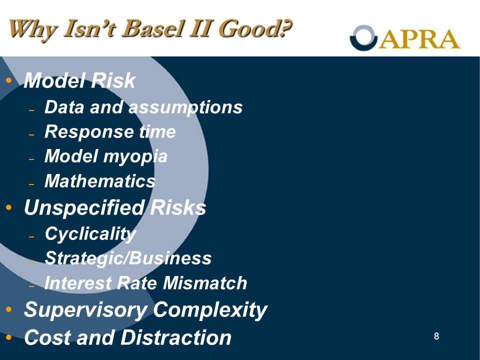 8 Model Risk – Data and assumptions – Response time – Model myopia – Mathematics Unspecified Risks – Cyclicality – Strategic/Business – Interest Rate Mismatch Supervisory Complexity Cost and Distraction Why Isn't Basel II Good?
